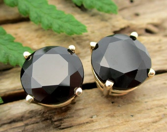 Black Spinel Earrings in Gold, Silver, Platinum, or Palladium with Genuine Gems, 8mm - Free Gift Wrapping