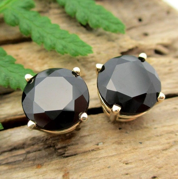 Black Spinel Earrings in Gold, Silver, Platinum with Genuine Gems, 8mm - Free Gift Wrapping