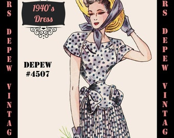 Vintage Sewing Pattern 1940's Dress in Any Size # 4507 Draft at Home Pattern - PLUS Size Included -INSTANT DOWNLOAD-