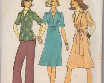 "Vintage Sewing Pattern 1970's Misses Blouses Simplicity 7049 34"" Bust- Free Pattern Grading E-book Included"