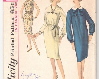 """Vintage Sewing Pattern Ladies' Dress Simplicity 5267 32"""" Bust Size 12 - Free Pattern Grading E-book Included"""