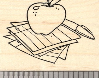 Teacher Rubber Stamp, Apple with Pen and Papers J25222 Wood Mounted