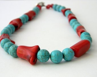 Coral and Turquoise Necklace Beaded Necklace Toggle Clasp 19 Inch