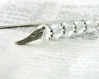Wing Bookmark with Clear Glass Beads Silver Plated Steel Bookmark Shepherd Hook