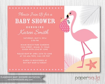Flamingo Baby Shower Invitation, Boy or Girl, Color Options, Customizable Colors & Information, Paper Squid Etsy, Digital File -  Item 150