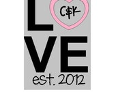 Customizeable LOVE decal to fit in an 11 x 14 frame add your initials and date comes in two colors