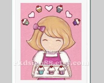 Baby girl nursery art, nursery wall art, kids wall art, art for kitchen decor, girl room decor, brown hair - She Loves Cupcakes 8 x 10