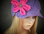 Purple Cotton Crochet Newsboy Cap with Appliqué Flower/ Toddler/Size 1-3 years