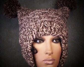 Crochet Hat,Accessory,Women,Ooak,Brown Hat,Tweed Hat, Ear Flap Hat,Bucket Hat,Large Winter Hat