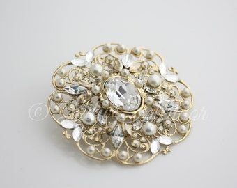 Gold Wedding Bridal Brooch Swarovski Rhinestone Crystal Brooch Pin Golden Shadow and Pearl Wedding Jewelry LILY BROOCH