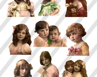 Digital Collage Sheet  Vintage Little girl Images (Sheet no. O130) Instant Download