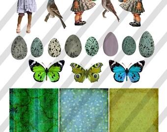 Digital Collage Sheet  Vintage Images Eggs Ephemera (Sheet no. O110) Png-Instant Download