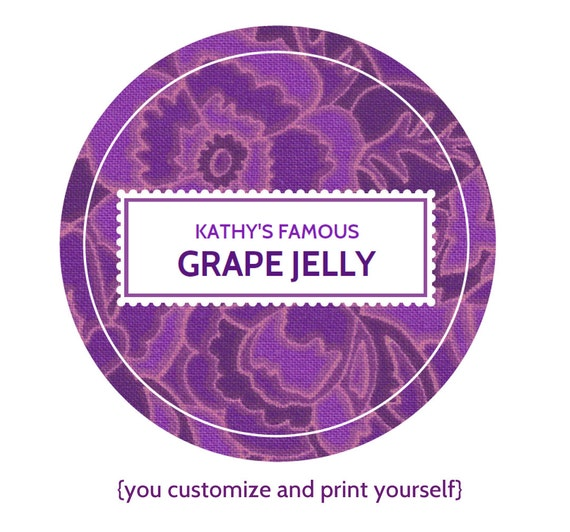 EDITABLE Custom Printable Canning Labels In Purple YOU