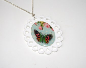 Butterfly Necklace, Floral Illustration Necklace OOAK, Animal Necklace