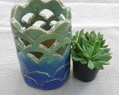 """Waves blue and green white stoneware hand built cut-out vase 5.5"""" by 3.75"""""""