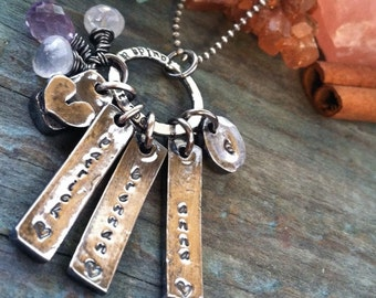 Rustic love hand stamped personalized mothers necklace with gemstones