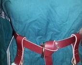 Burgundy Leather Belt and Pair Burgundy Leather Skirt Hike Skirt Chaser SET SCA Renaissance LARP Medieval Pennsic