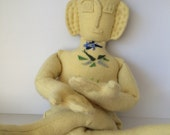 Zen Buddha Doll (lemon yellow) with Chakras, OOAK art doll, Cashmere, Upcycled Sweater, Handmade, Numbered, Unique