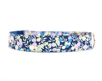 Liberty of London Dog Collar - Navy and Lavender Berries