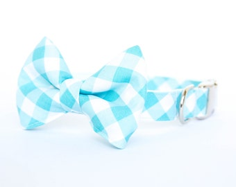 Dog Bowtie Collar - Turquoise Gingham