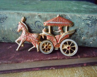 red toledo ware damscene brooch with movable wheels - pin signed spain - horse brooch red enamel pin costume jewelry spanish damascus