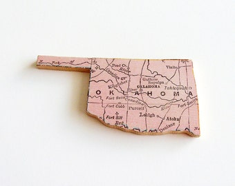 Oklahoma Brooch - Lapel Pin / Upcycled Antique 1907 Rand McNally Wood Piece / Unique Wearable History Gift Idea / Timeless Gift Under 50