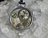 Recycled  pendant jewelry necklace pocket watch steampunk vintage watch parts  rubies gears art sculpture