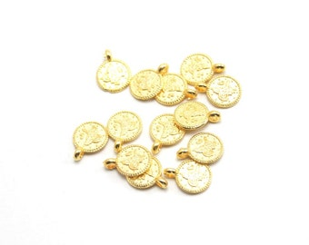 20 pcs Matte Gold Plated Mini Coin,  two side,  spacer, charm-14x10x2mm (017-033GP)