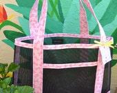 Tote Bag Pink Ribbon Breast Cancer Awareness Fabric and Vinyl Mesh Tote