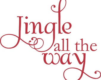 Small Jingle All The Way Christmas Decoration Vinyl Wall Letter Words Decal