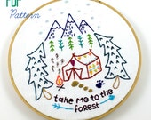 Camping Forest Woods Travel Hand Embroidery PDF Pattern