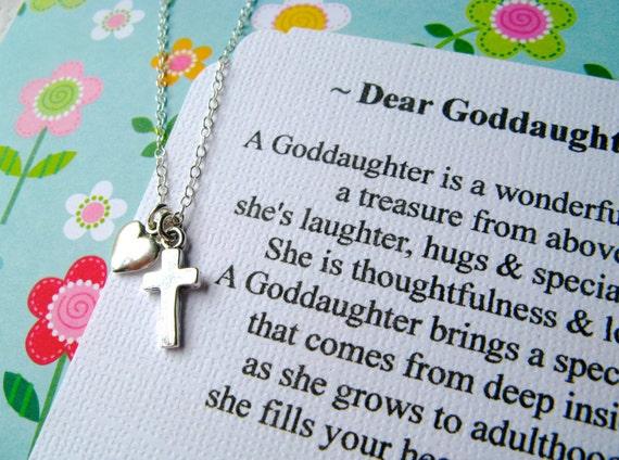 Gift For Goddaughter Birthstone Necklace Sterling By: GODDAUGHTER Gift Goddaughter Necklace With POEM CARD Gift