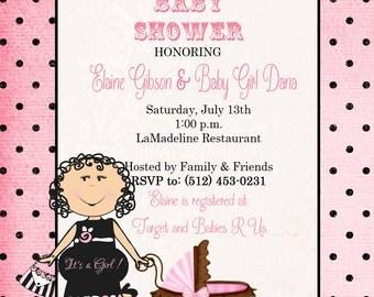 Polka Dot Baby Girl Shower Invitation
