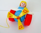 1980 Fisher Price Plane, Airplane Pull Toy Complete with Pilot Red White Blue Plane Yellow Vintage Toddler Aviaor Toy Propeller Spins
