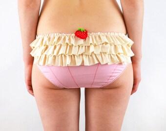 Lingerie Frilly  panties, pink cupcake, underwear