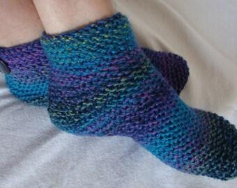 Knit Womens Slipper Socks,  Ankle Boot Socks, Slippers- Womens Medium