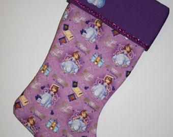 PERSONALIZED Princess Sofia Christmas Stocking, Princess Sofia Stocking, Quilted Stocking, Stocking, Princess Sofia, Ready to Ship