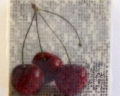 Cherry Bomb - Original Encaustic Photograph on Wood Block