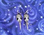 Bird Skull with Flower Earrings
