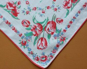 Vintage Handkerchief with Tulip Design