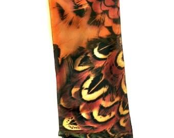 "SILK SCARF - ""Pheasant Back"" Fine Art Wildlife Bird Image on Silk  - 14"" x 72"" -  wearable art"