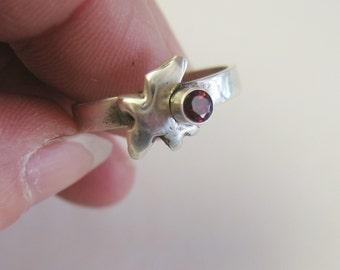 Small Bird Engagement Ring with Red Garnet, january birthstone jewelry, red garnet ring, bird totem ring, symbolic bird ring