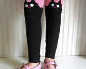 Cat Leggings Kitty Tights Kitten Leggings Black and Pink Leggings Crazy Cat Lady Tights Girls Sizes  2 3T, 4 5, 6 7, 8, 10