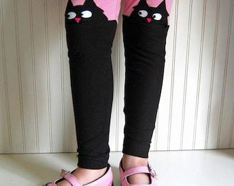 Cat Leggings. Kitty Leggings. Girls Leggings. Toddler Leggings. Black Cat Leggings. Cat Lover Gift. Cat Clothing. Girls Cat Pants