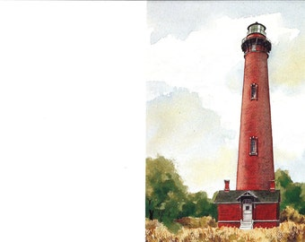 Lighthouse Print - Vintage Lighthouse Book Plate - Currituck Beach Lighthouse - North Carolina Lighthouses - Cindy Corey - Keith Rose - 1982
