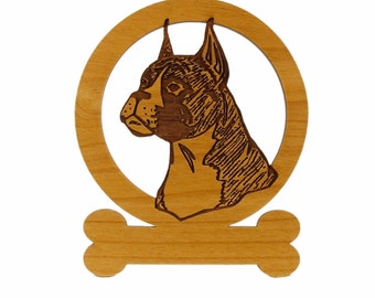 081948 Boxer Head (Cropped Ears) Ornament - Free Shipping