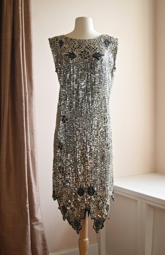 Vintage Flapper Dress Vintage 20s Style Gatsby Dress Silver