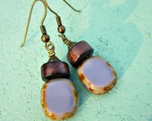 Fire Polished Lavender Glass and Dark Wood on Rustic Brass Dangle Earrings: Plunge