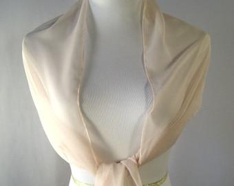 Evening Wrap - Champagne - Shawl Scarf - Stole - One Shoulder Drape - Champagne Beige Chiffon - Pashmina - Dressy Wrap - Extra Long