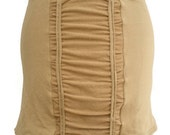 Soy / Certified Organic Cotton Mini Stretch Skirt Latte Tan Color with Ruching Medium